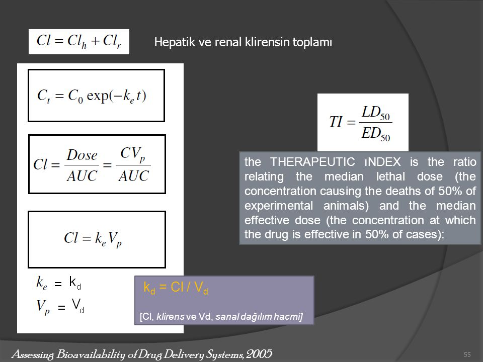 kd = Cl / Vd Hepatik ve renal klirensin toplamı