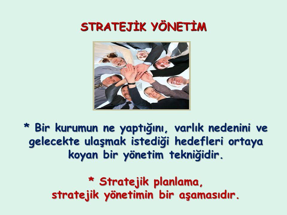 * Stratejik planlama, stratejik yönetimin bir aşamasıdır.