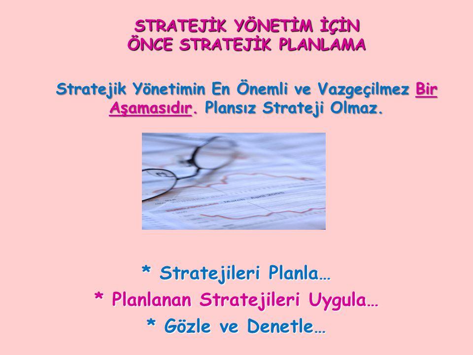 STRATEJİK YÖNETİM İÇİN ÖNCE STRATEJİK PLANLAMA Stratejik Yönetimin En Önemli ve Vazgeçilmez Bir Aşamasıdır. Plansız Strateji Olmaz.