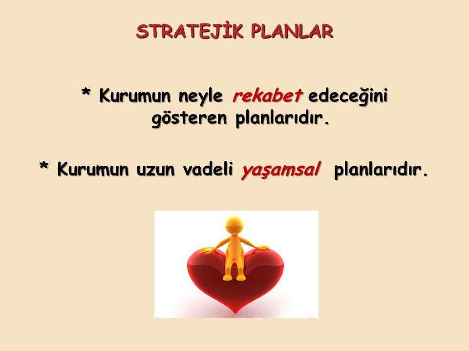 * Kurumun neyle rekabet edeceğini gösteren planlarıdır.