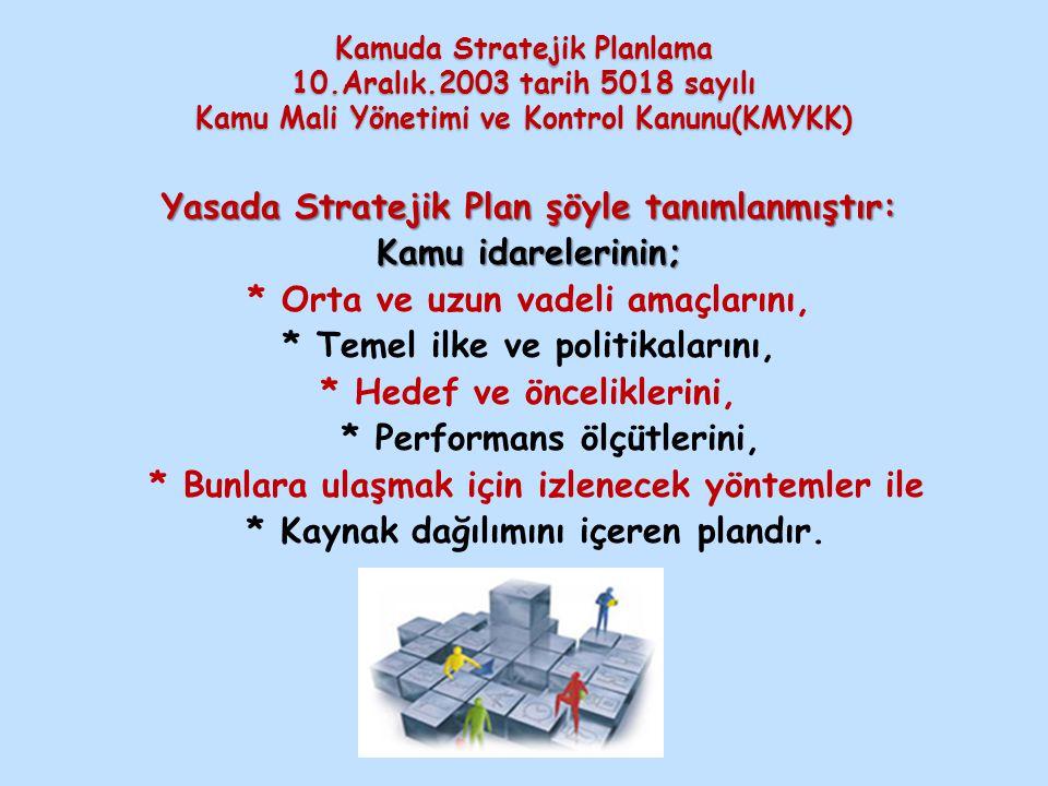 Yasada Stratejik Plan şöyle tanımlanmıştır: Kamu idarelerinin;