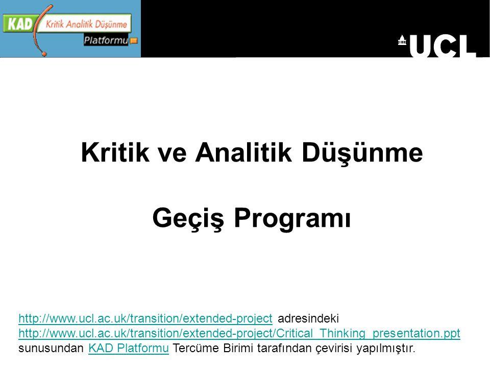 Kritik ve Analitik Düşünme Geçiş Programı