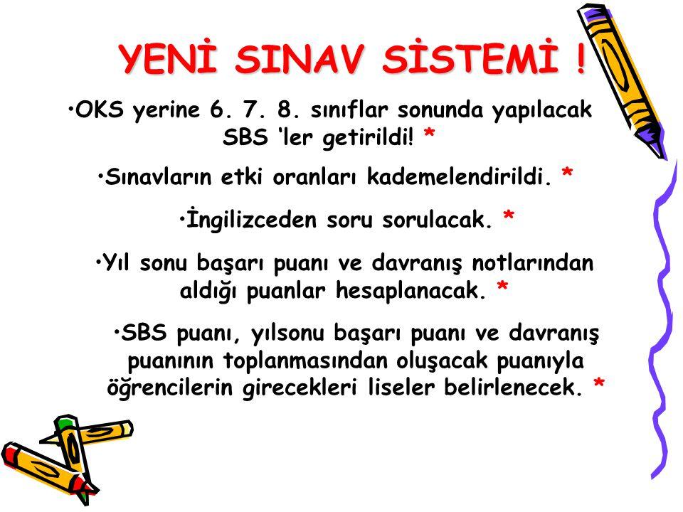 YENİ SINAV SİSTEMİ ! OKS yerine 6. 7. 8. sınıflar sonunda yapılacak SBS 'ler getirildi! * Sınavların etki oranları kademelendirildi. *