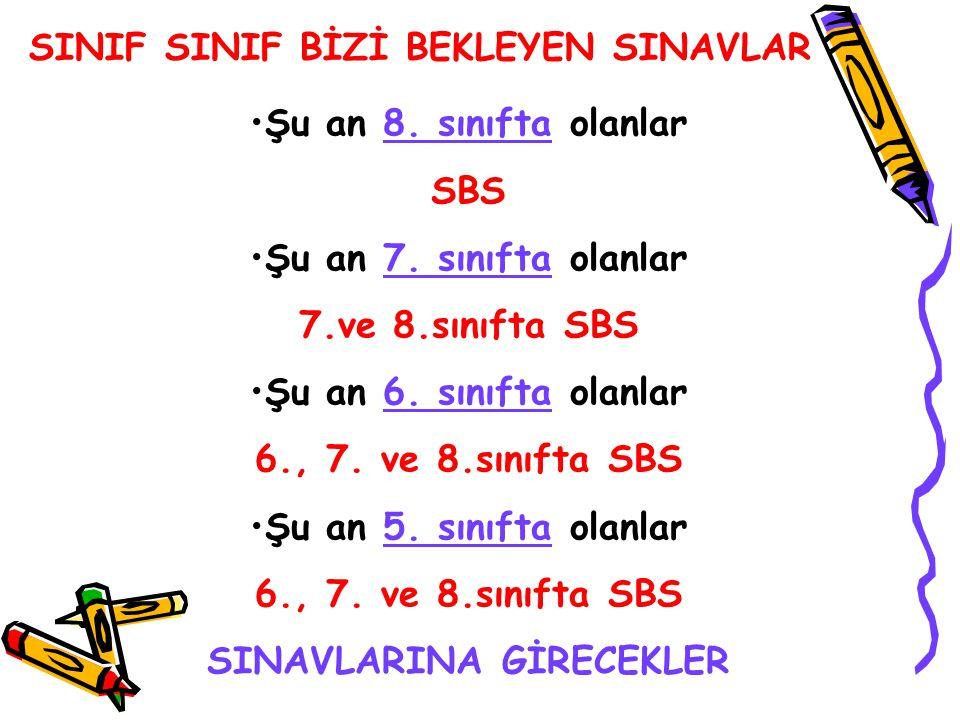SINAVLARINA GİRECEKLER