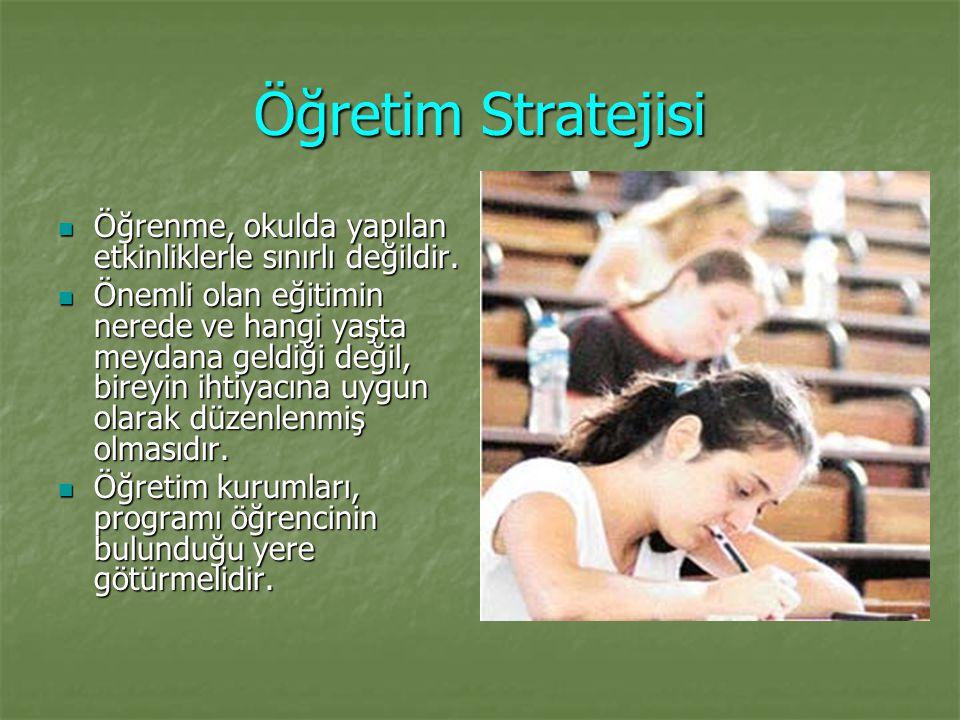 Öğretim Stratejisi Öğrenme, okulda yapılan etkinliklerle sınırlı değildir.