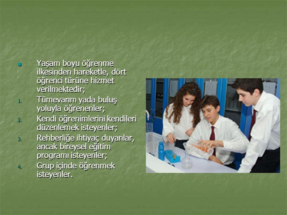 Yaşam boyu öğrenme ilkesinden hareketle, dört öğrenci türüne hizmet verilmektedir;