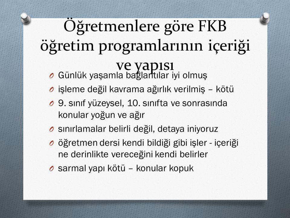 Öğretmenlere göre FKB öğretim programlarının içeriği ve yapısı
