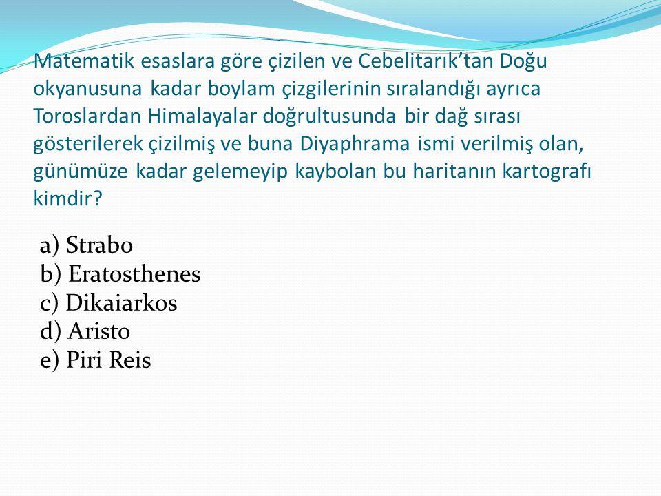 a) Strabo b) Eratosthenes c) Dikaiarkos d) Aristo e) Piri Reis