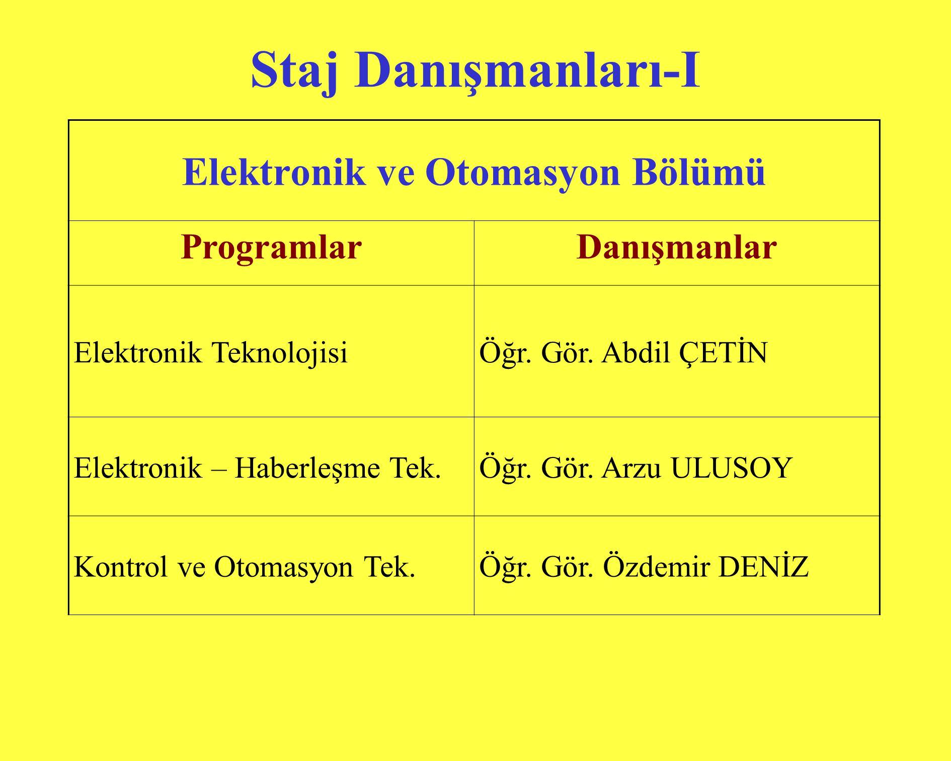 Elektronik ve Otomasyon Bölümü