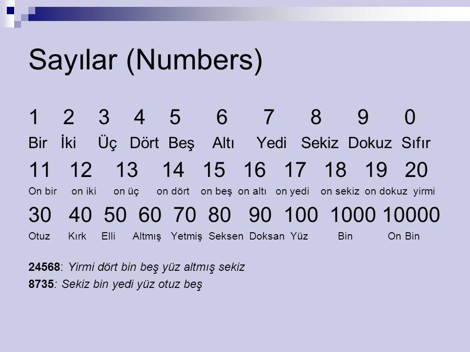 Sayılar (Numbers) 1 2 3 4 5 6 7 8 9 0. Bir İki Üç Dört Beş Altı Yedi Sekiz Dokuz Sıfır.