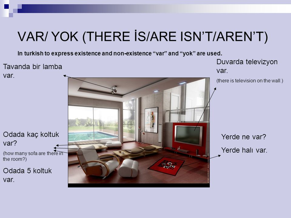 VAR/ YOK (THERE İS/ARE ISN'T/AREN'T)