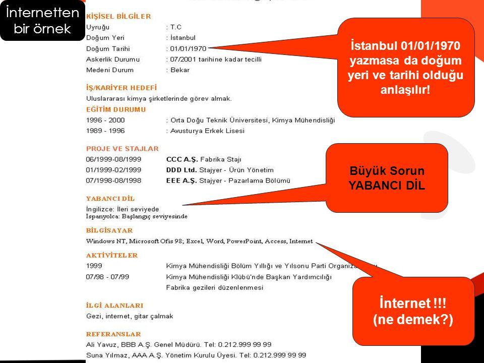 İstanbul 01/01/1970 yazmasa da doğum yeri ve tarihi olduğu anlaşılır!