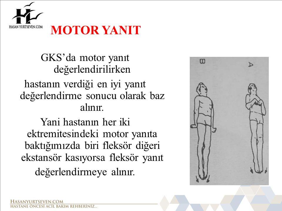 MOTOR YANIT GKS'da motor yanıt değerlendirilirken