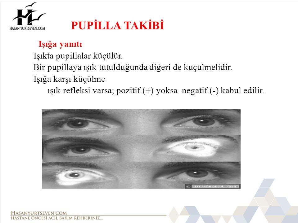 PUPİLLA TAKİBİ Işığa yanıtı Işıkta pupillalar küçülür.