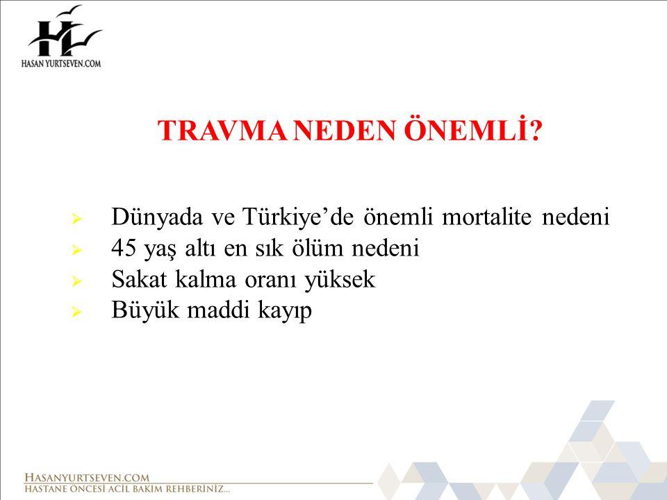 TRAVMA NEDEN ÖNEMLİ Dünyada ve Türkiye'de önemli mortalite nedeni
