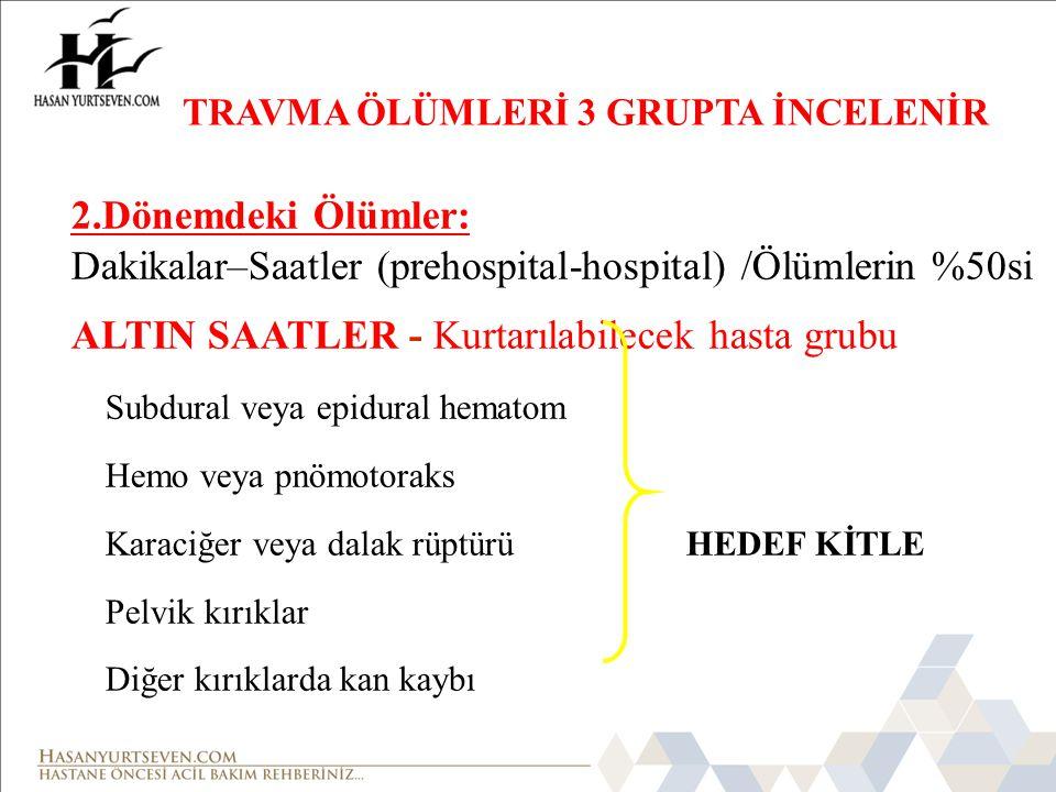 Dakikalar–Saatler (prehospital-hospital) /Ölümlerin %50si
