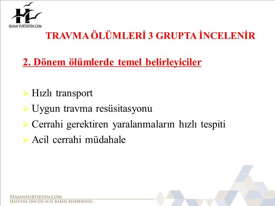 2. Dönem ölümlerde temel belirleyiciler Hızlı transport