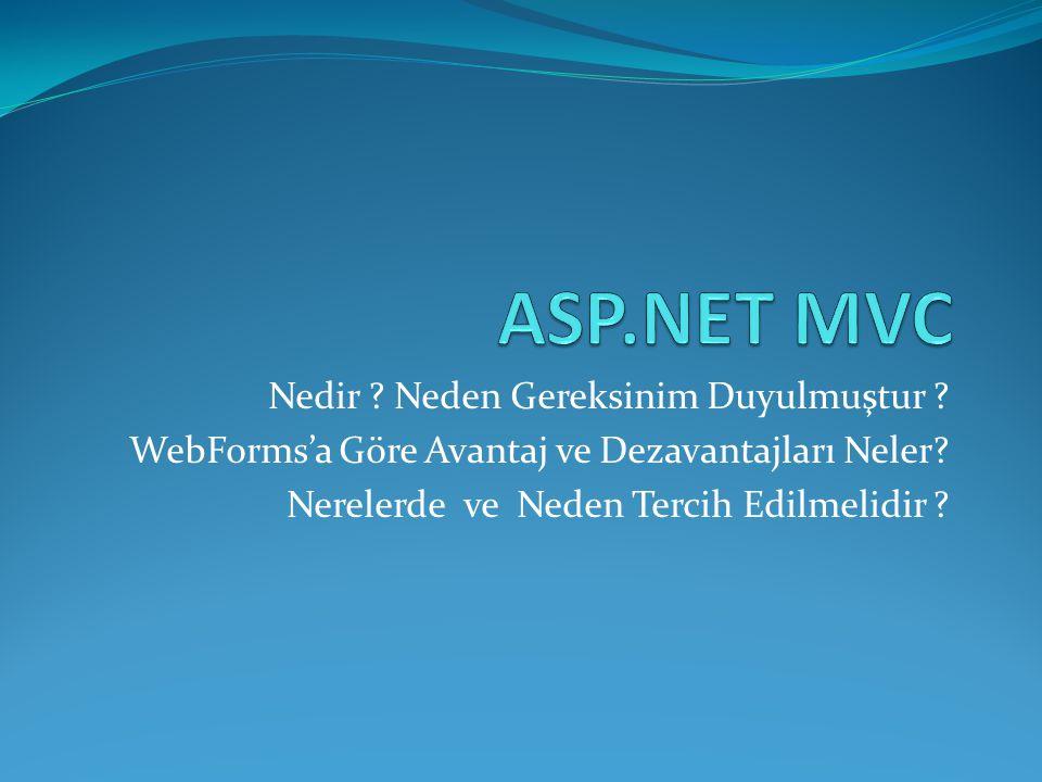 ASP.NET MVC Nedir Neden Gereksinim Duyulmuştur
