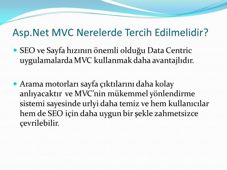 Asp.Net MVC Nerelerde Tercih Edilmelidir
