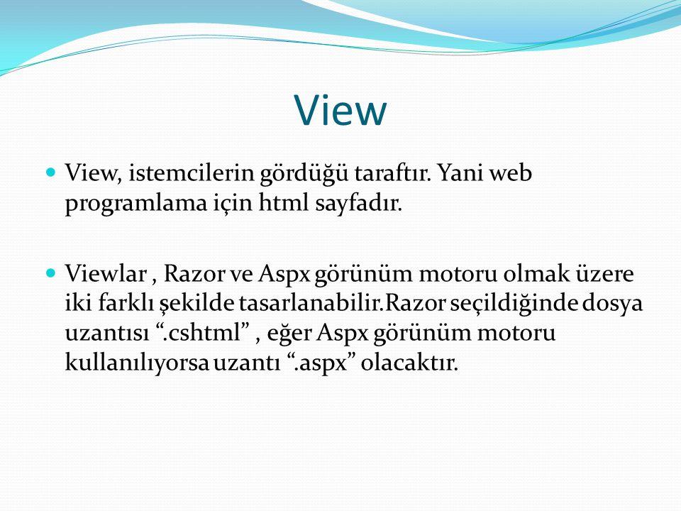 View View, istemcilerin gördüğü taraftır. Yani web programlama için html sayfadır.