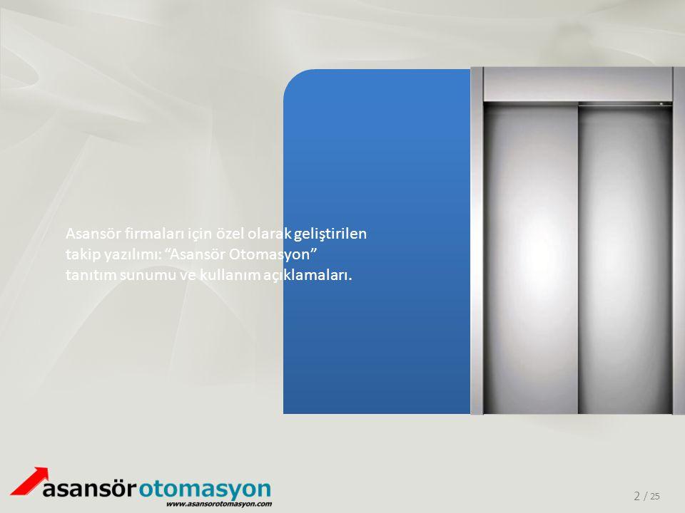 Asansör firmaları için özel olarak geliştirilen takip yazılımı: Asansör Otomasyon tanıtım sunumu ve kullanım açıklamaları.