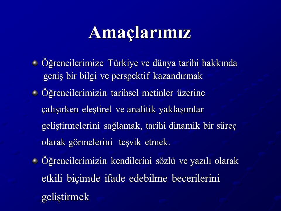 Amaçlarımız Öğrencilerimize Türkiye ve dünya tarihi hakkında