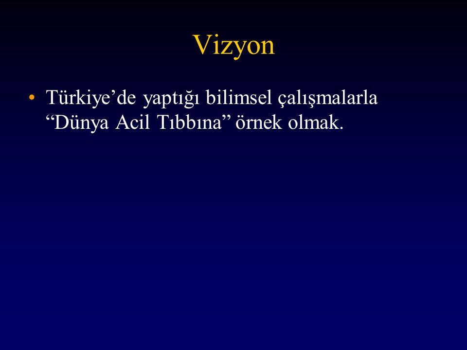Vizyon Türkiye'de yaptığı bilimsel çalışmalarla Dünya Acil Tıbbına örnek olmak.