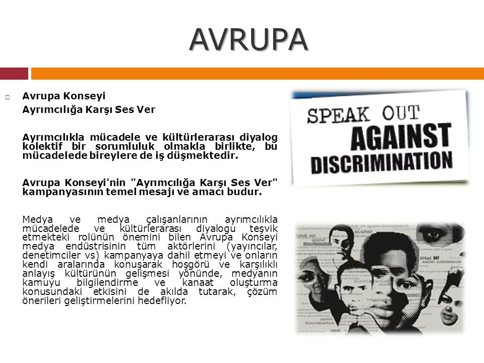 AVRUPA Avrupa Konseyi Ayrımcılığa Karşı Ses Ver