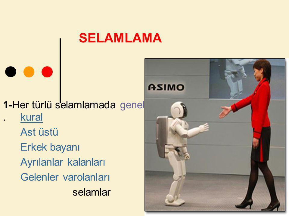 SELAMLAMA 1-Her türlü selamlamada genel . kural Ast üstü Erkek bayanı