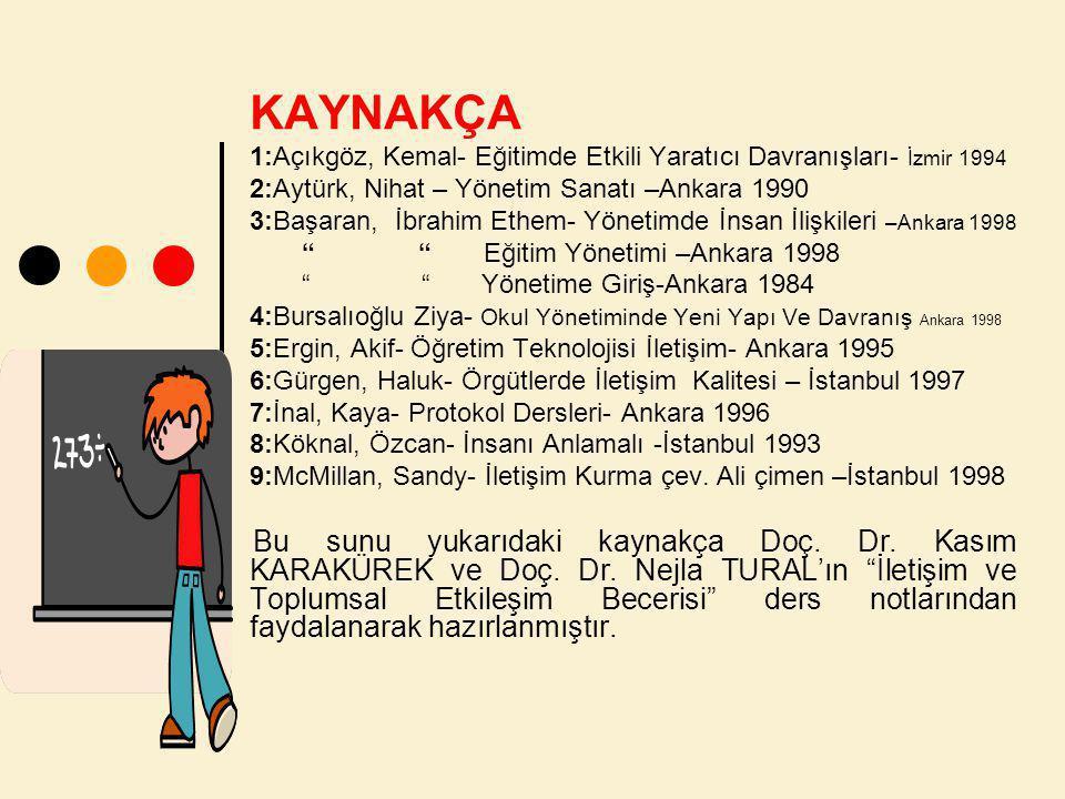 KAYNAKÇA 1:Açıkgöz, Kemal- Eğitimde Etkili Yaratıcı Davranışları- İzmir 1994. 2:Aytürk, Nihat – Yönetim Sanatı –Ankara 1990.