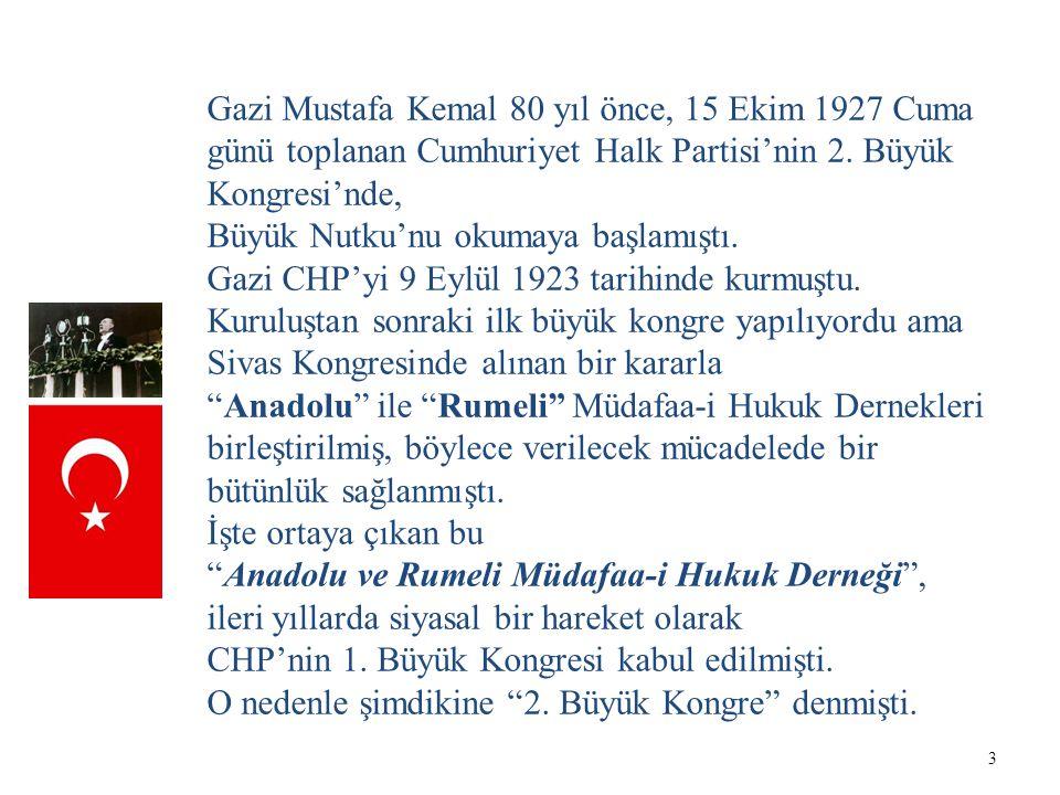 Gazi Mustafa Kemal 80 yıl önce, 15 Ekim 1927 Cuma günü toplanan Cumhuriyet Halk Partisi'nin 2. Büyük Kongresi'nde,