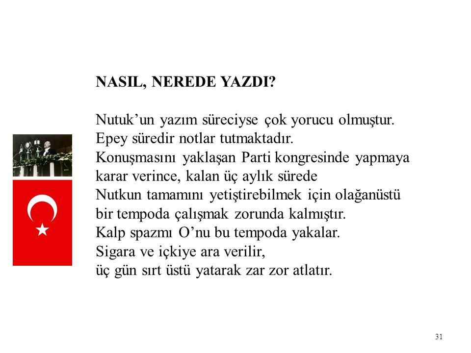 NASIL, NEREDE YAZDI Nutuk'un yazım süreciyse çok yorucu olmuştur. Epey süredir notlar tutmaktadır.