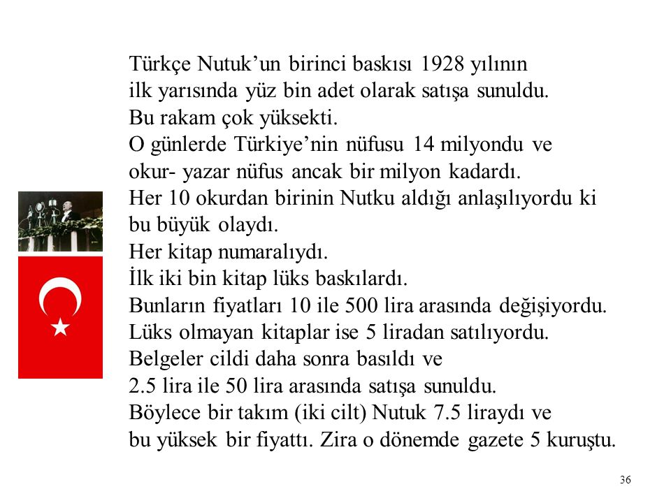 Türkçe Nutuk'un birinci baskısı 1928 yılının