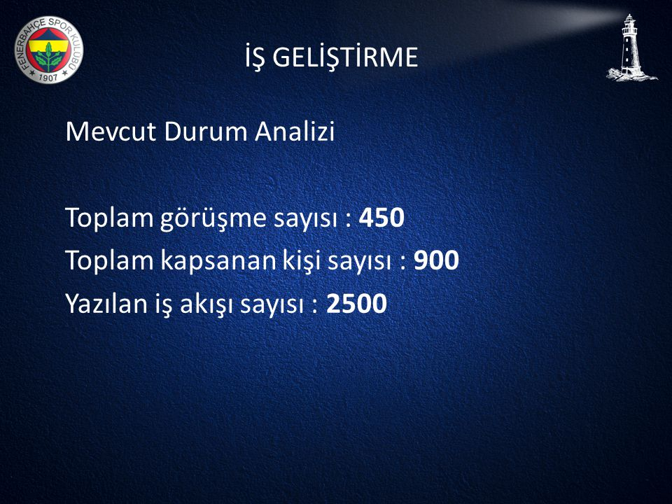 Toplam görüşme sayısı : 450 Toplam kapsanan kişi sayısı : 900
