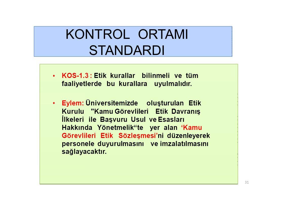 KONTROL ORTAMI STANDARDI • KOS-1.3 : Etik kurallar bilinmeli ve tüm