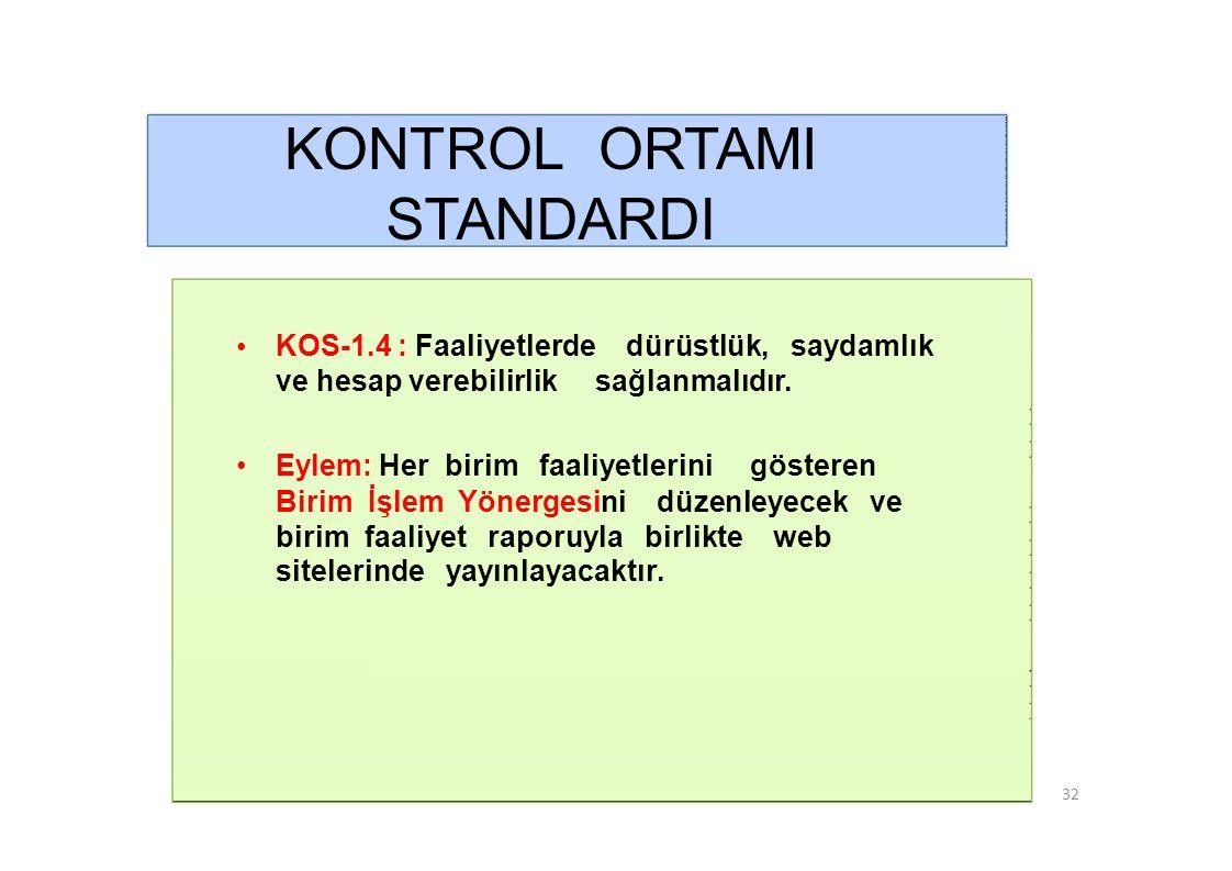 KONTROL ORTAMI STANDARDI •