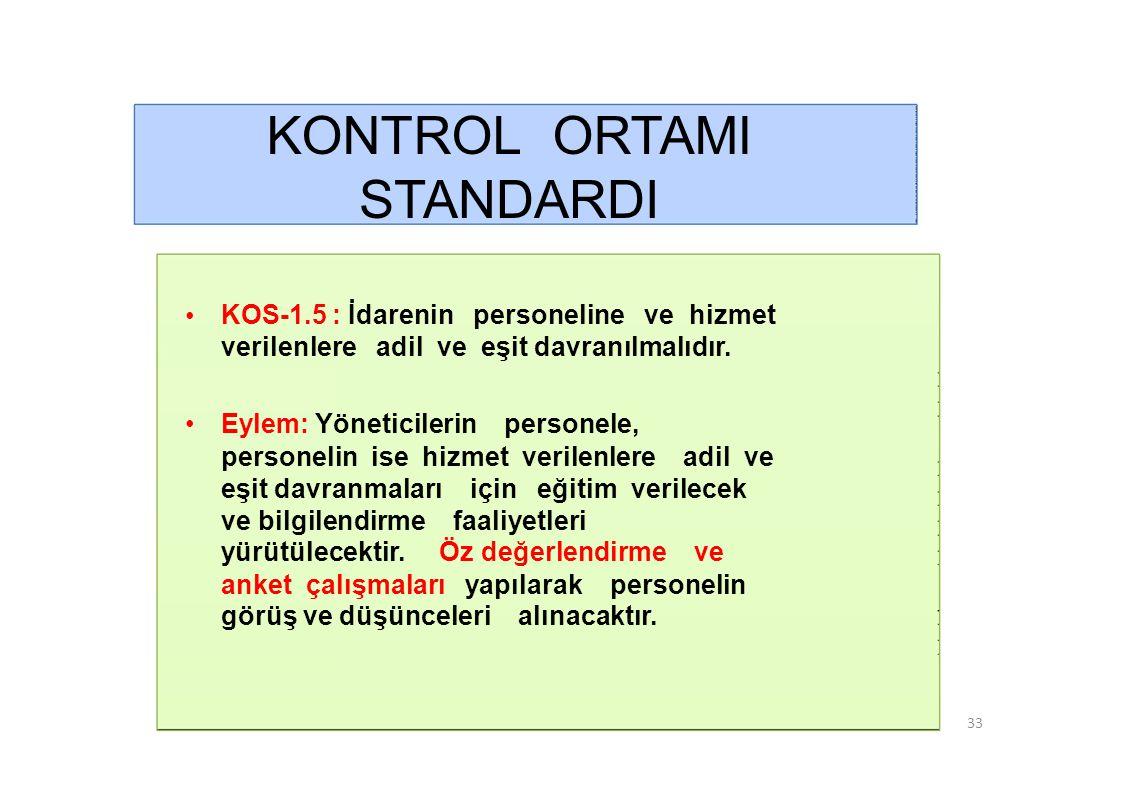 KONTROL ORTAMI STANDARDI • KOS-1.5 : İdarenin personeline ve hizmet