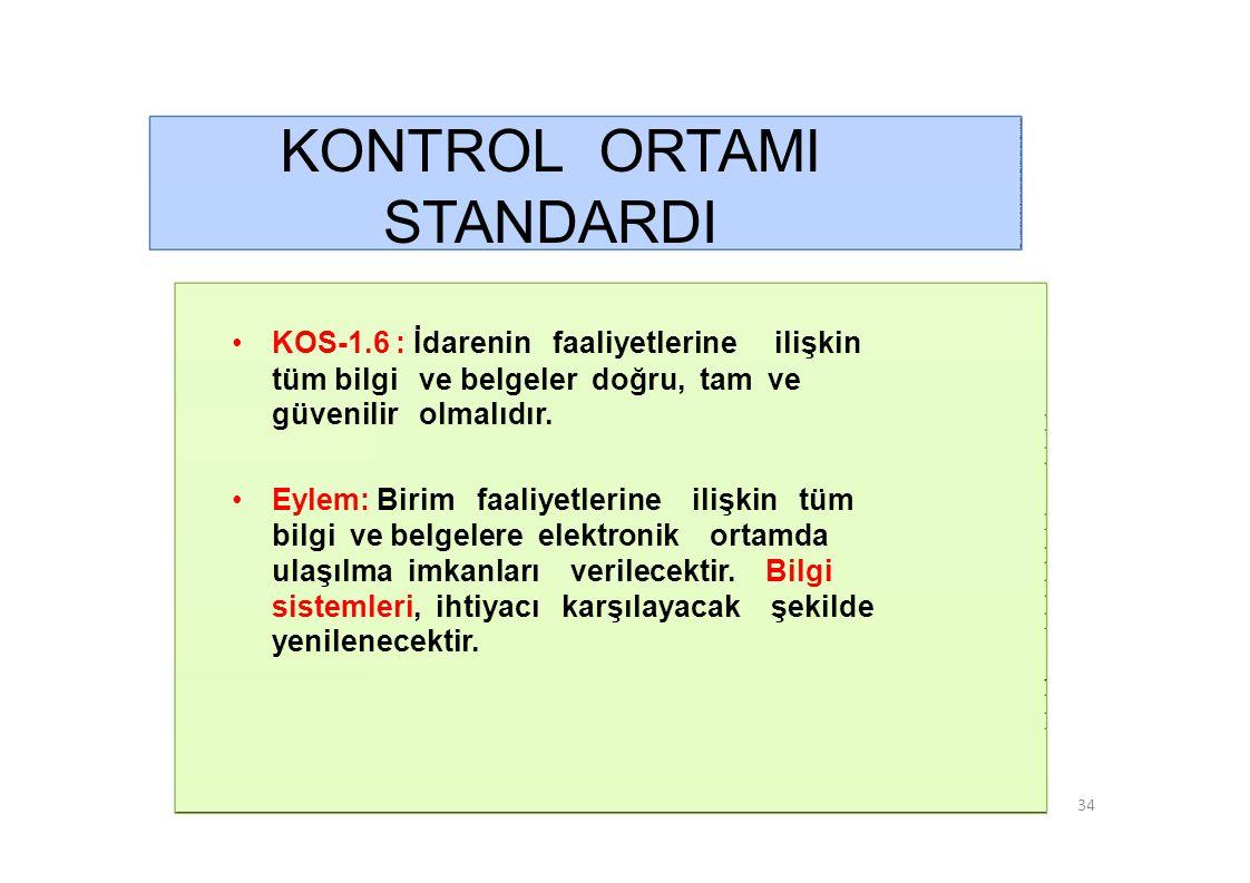 KONTROL ORTAMI STANDARDI • KOS-1.6 : İdarenin faaliyetlerine ilişkin