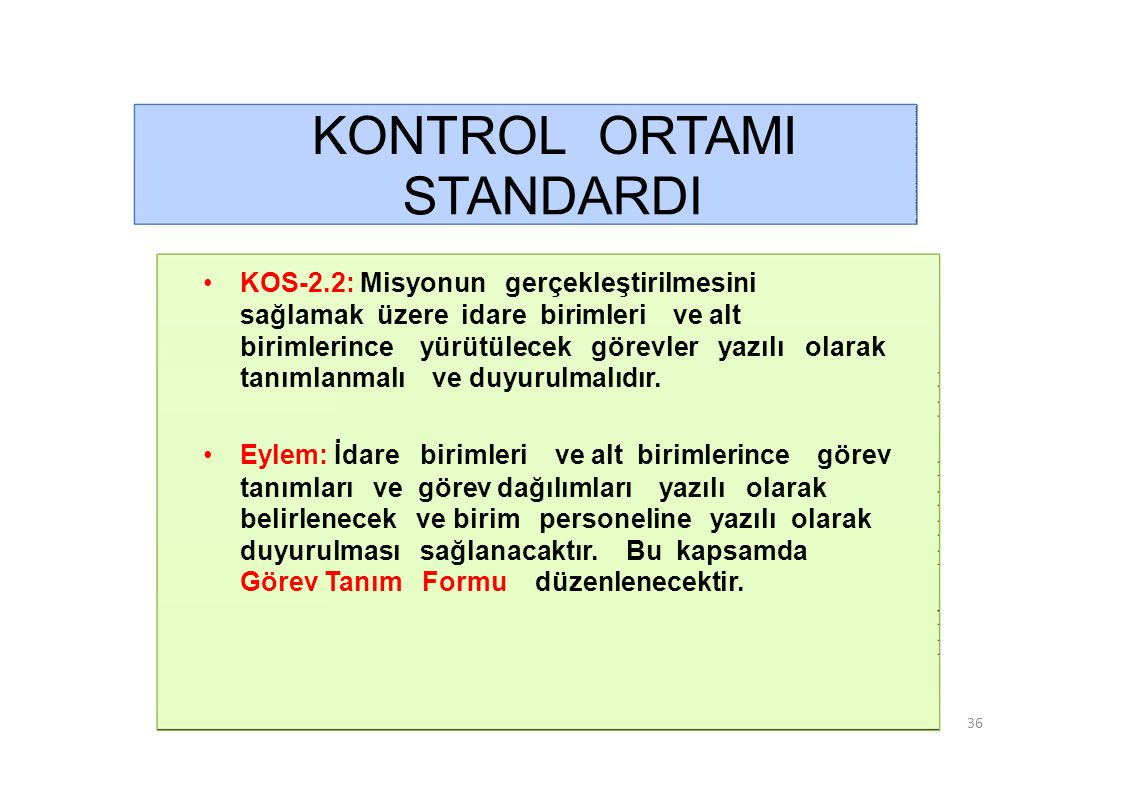 KONTROL ORTAMI STANDARDI • KOS-2.2: Misyonun gerçekleştirilmesini