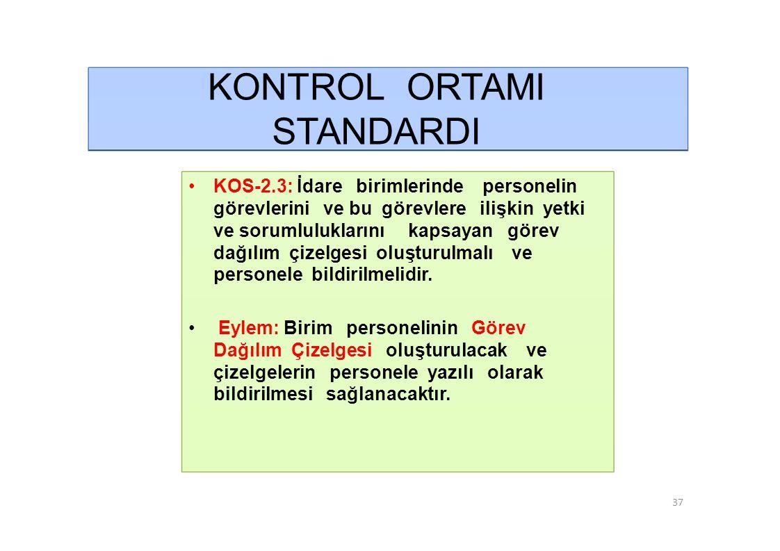 KONTROL ORTAMI STANDARDI • KOS-2.3: İdare birimlerinde personelin
