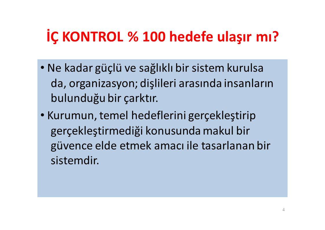 İÇ KONTROL % 100 hedefe ulaşır mı