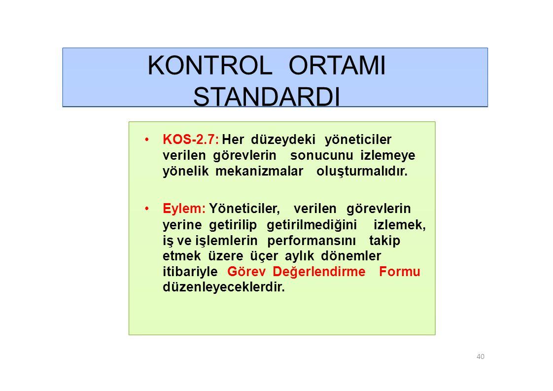 KONTROL ORTAMI STANDARDI • KOS-2.7: Her düzeydeki yöneticiler