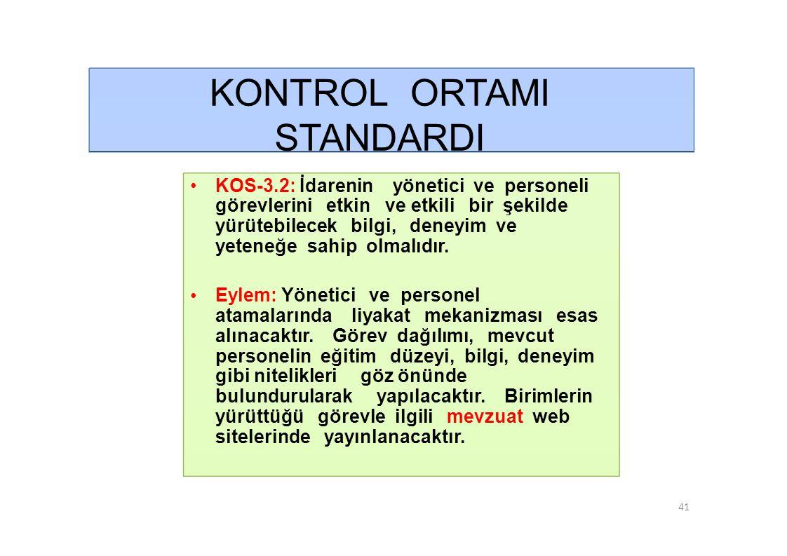 KONTROL ORTAMI STANDARDI • KOS-3.2: İdarenin yönetici ve personeli