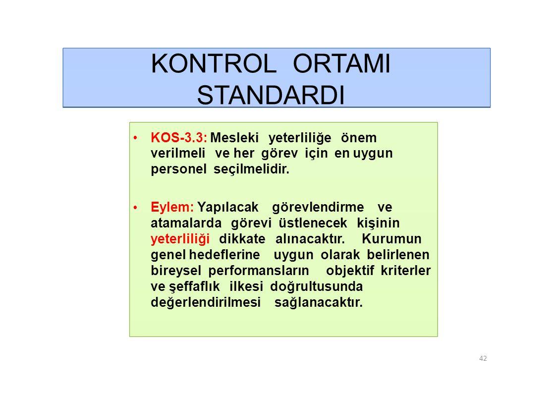 KONTROL ORTAMI STANDARDI • KOS-3.3: Mesleki yeterliliğe önem
