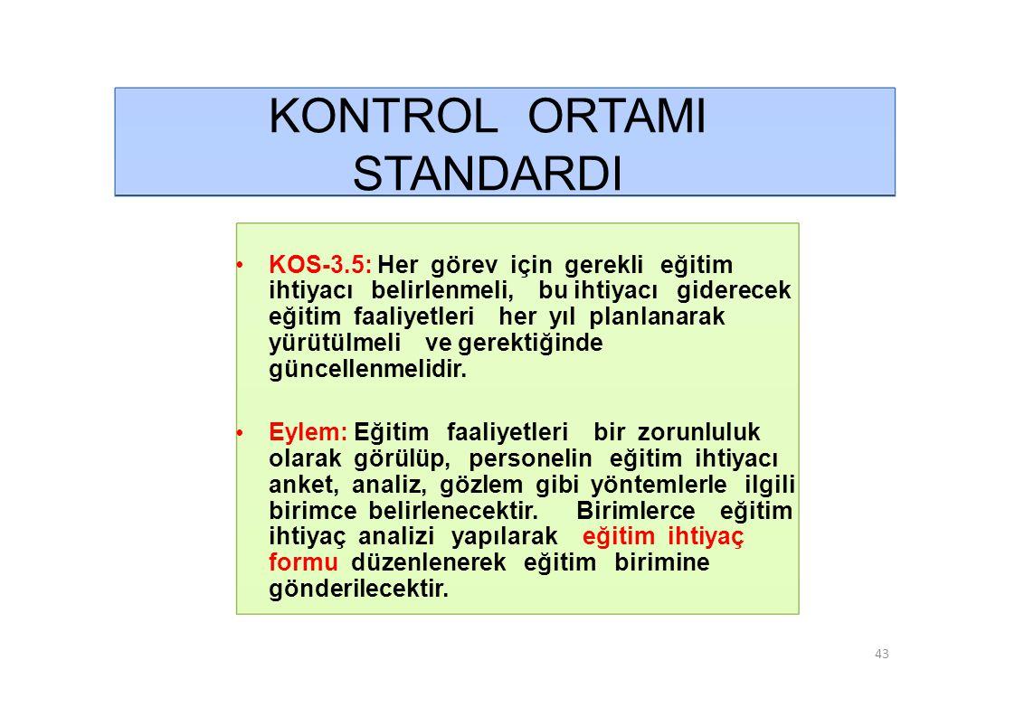 KONTROL ORTAMI STANDARDI • KOS-3.5: Her görev için gerekli eğitim