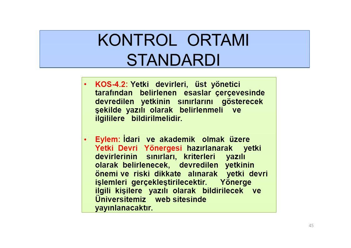 KONTROL ORTAMI STANDARDI • KOS-4.2: Yetki devirleri, üst yönetici
