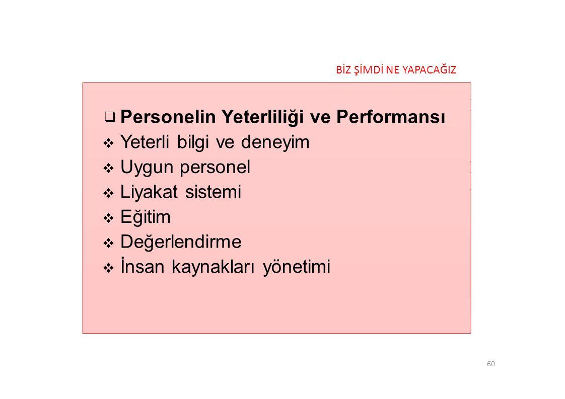 Personelin Yeterliliği ve Performansı Yeterli bilgi ve deneyim