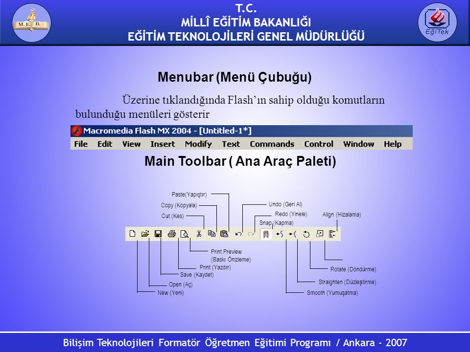Main Toolbar ( Ana Araç Paleti)