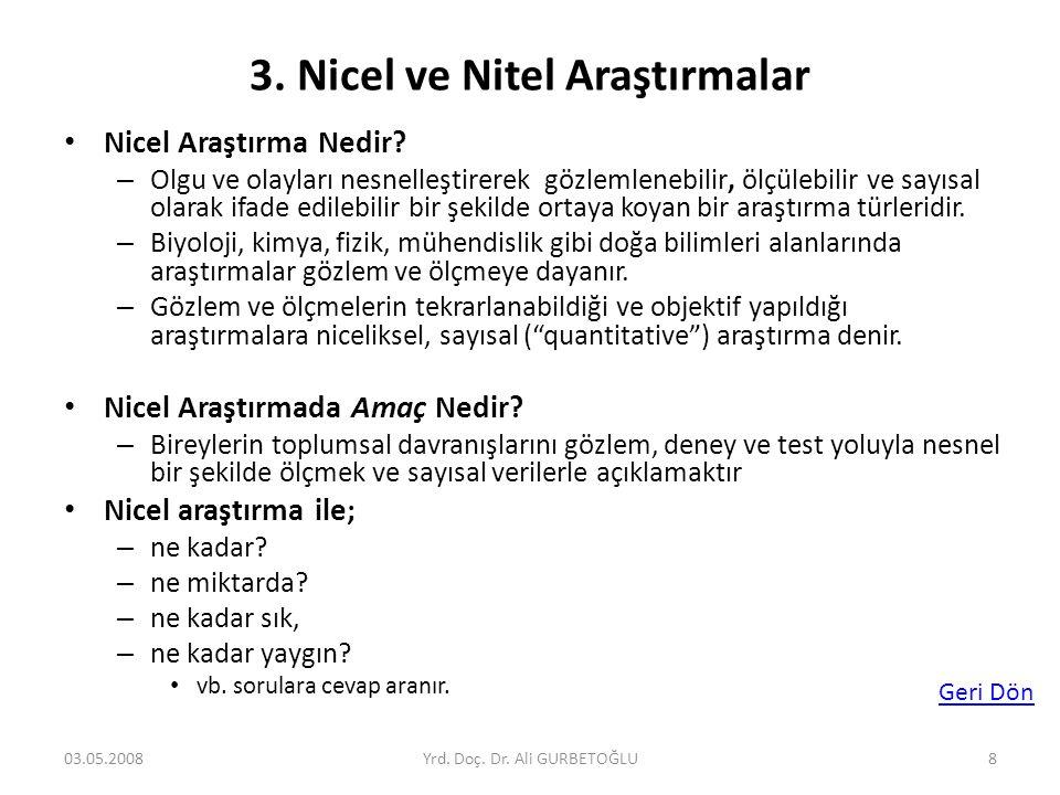 3. Nicel ve Nitel Araştırmalar