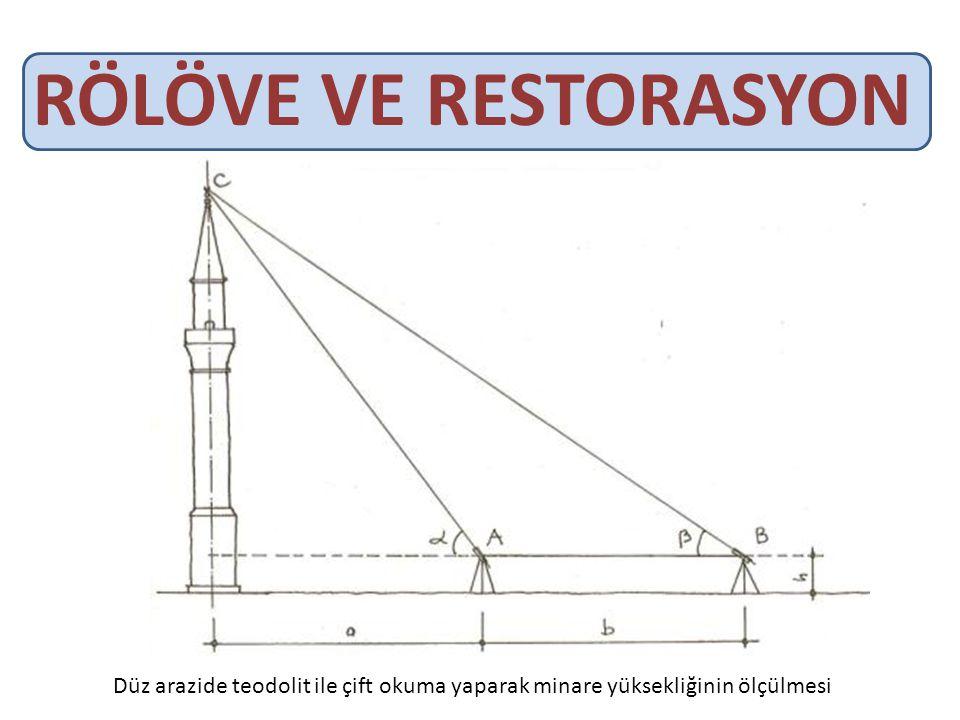 RÖLÖVE VE RESTORASYON Düz arazide teodolit ile çift okuma yaparak minare yüksekliğinin ölçülmesi